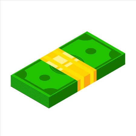 Pile of money icon. Isometric dollar banknotes. 3d Money symbol vector illsutration