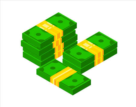 Pile of cash. Isometric dollar banknote icon. 3D Stacked dollar bundle vector illustration