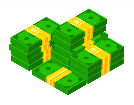 3D Pile of cash. Isometric dollar banknote icon. Stacked dollar bundle vector illustration