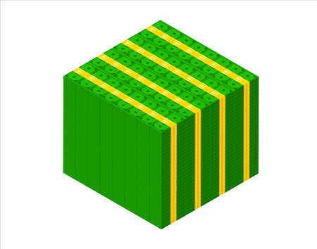Big stacked pile of cash. Isometric dollar banknotes stack. 3D Millions of dollars block vector illustration