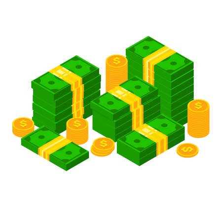 Isometric dollars and coins. 3D Piles of money. Stacked dollar bundle isolated vector illustation Ilustrace