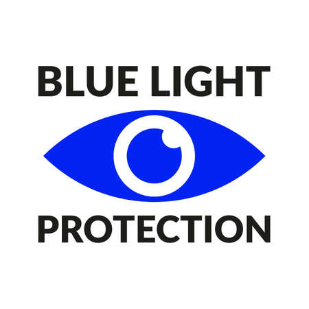 Blue light protection eye icon vector symbol