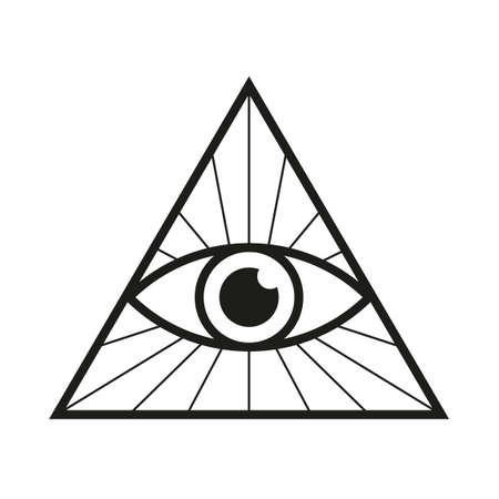 All seeing eye icon Eye in triangle Illuminati symbol vector illustration