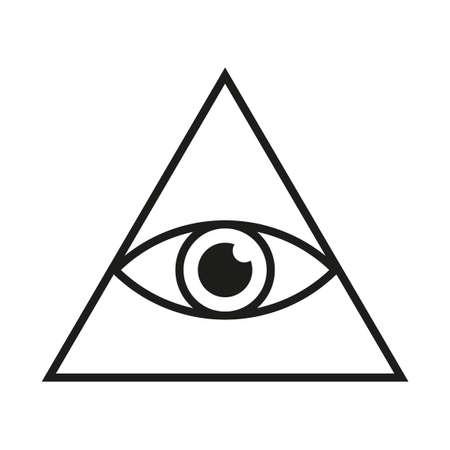 Eye in triangle simple minimalistic symbol. All seeing Illuminati eye pyramid isolated vector illustration Ilustración de vector