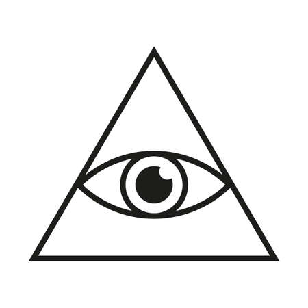 Eye in triangle simple minimalistic symbol. All seeing Illuminati eye pyramid isolated vector illustration
