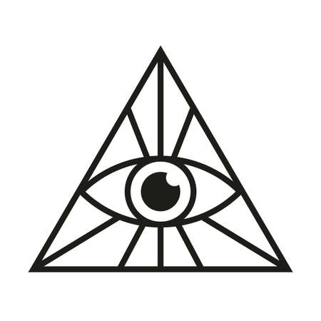 All seeing eye sign. Eye in triangle mason symbol isolated vector illustration