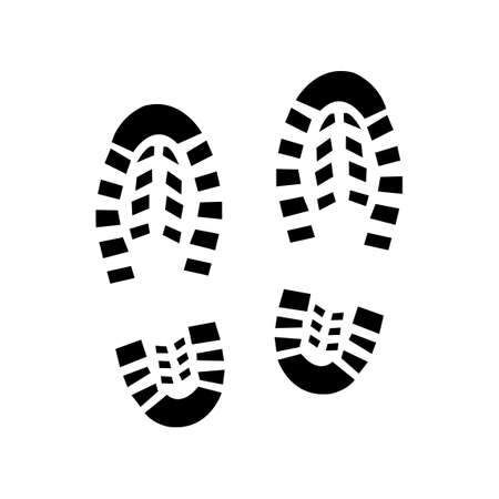 Human military shoe footprint silhouette. Isolated on white background