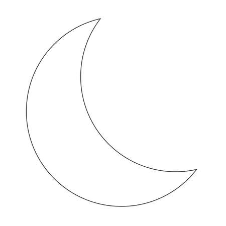 Outline young moon icon. Half moon symbol