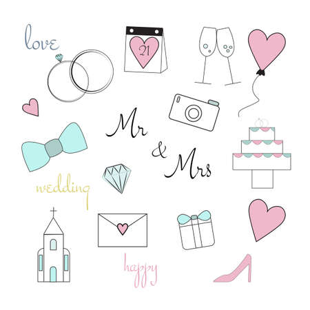Wedding colorful items set. Wedding vector icons set isolated on white background