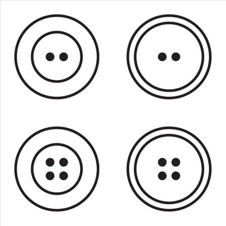Clothes buttons with two or four holes icon set logotype.