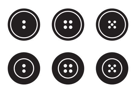 Clothes buttons for clothes icons set logotype. Vector isolated clothing buttons collection in outline and filled style