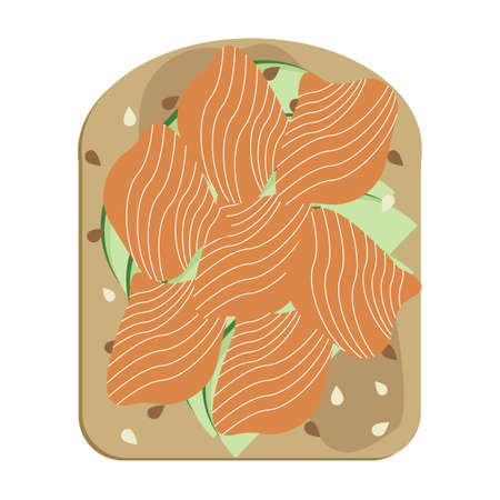 Avocado toast with poached egg and salmon vector illustration. Avocado slices on toasted bread, vegan sandwich with smoked lox and sesame seeds