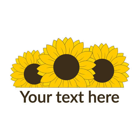 Sunflower with text line for banner or postcard vector illustration