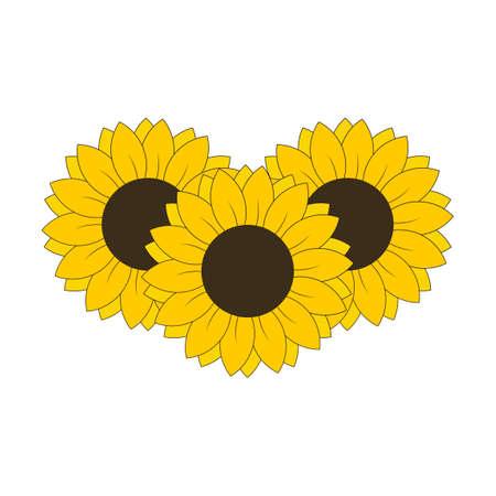3 Sunflowers for banned design or decoration vector illustration Vecteurs