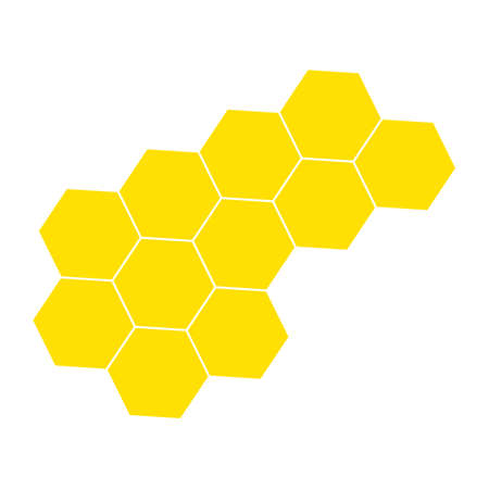 Yellow honeycomb illustration in flat style isolated