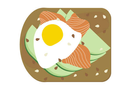 Avocado toast with poached egg and salmon illustration isolated. Avocado smoked lox slices on bread, vegan sandwich with seeds