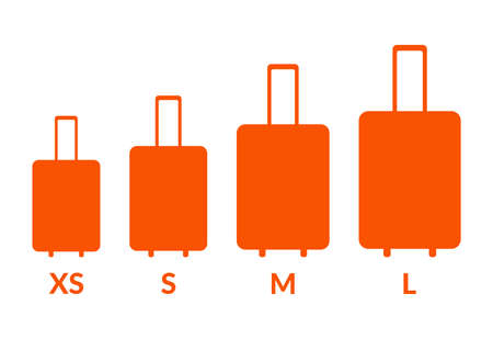 Luggage sizes XS, S, M, L. Baggage icons size vector set