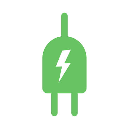 Green electric plug icon symbol with lightning bolt in flat design style. Green energy eco power vector illustration isolated