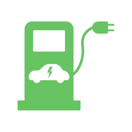 Electric fuel pump station icon. Green charging point for hybrid vehicles cars sign symbol isolated