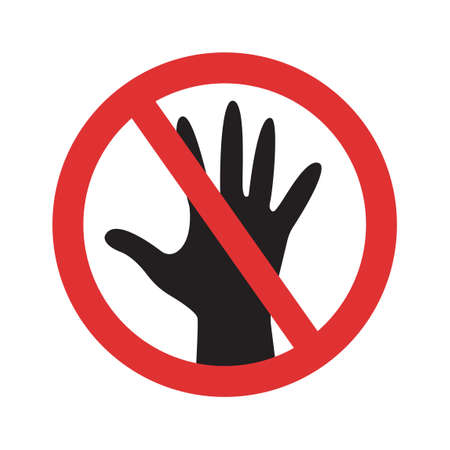 Do not touch vector sign. Crossed hand prohibited symbol isolated