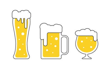 Different beer mugs, pints, tankards with foam in flat style isolated vector illustrations for pub bar or Oktoberfest menu