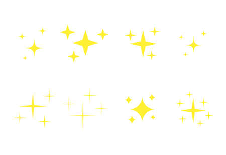 Yellow spark emoji icons set. Golden glowing stars symbols collection. Bright christmas stars twinkle in flat style vector isolated