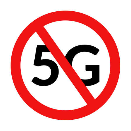 5G forbidden sign. No 5G mobile network symbol isolated on white