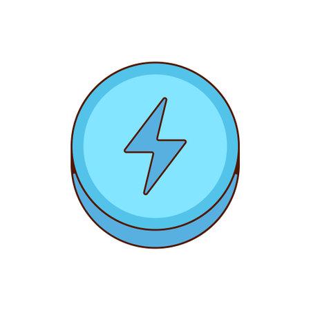 Ecstasy pill with blue lightning bolt symbol isolated on white background