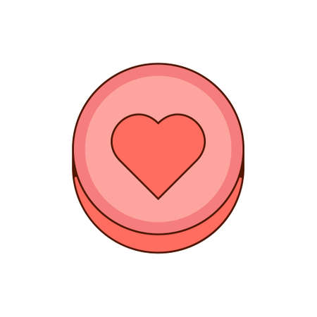 Ecstasy pill with red heart symbol isolated on white background