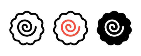 Narutomaki or kamaboko surimi vector icons set in outline and filled style. Traditional Japanese naruto steamed fish cake with pink swirl in the center. Topping for ramen noodle soup isolated.