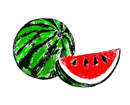 Whole watermelon and sliced watermelon on a white background