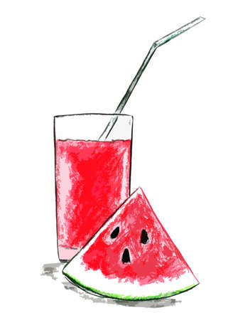 Watermelon juice in a glass and a slice of watermelon next to it Stock fotó
