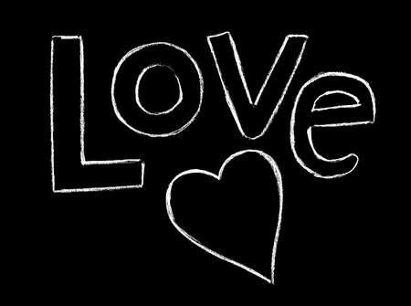The inscription love and heart in white on a black background