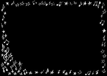A frame in the form of notes, drawn in white on a black background.
