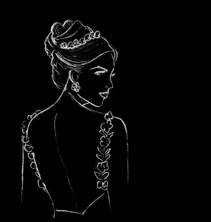 Graphic image of a young woman with a beautiful hairstyle on a black background