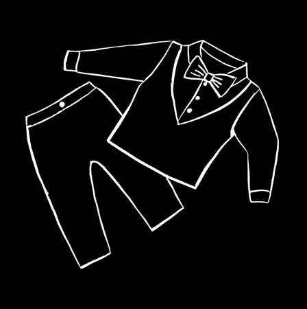 Graphic image of clothes for a boy on a black background