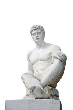 wistful: Seated figure of a statue of a wistful glance Stock Photo