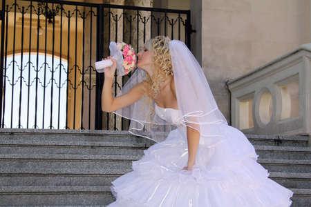 Woman in wedding dress photo