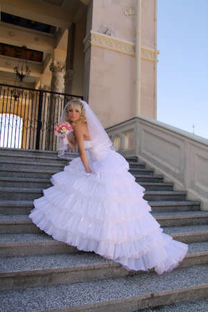 Woman in wedding dress photo