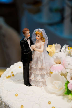 Closeup of wedding cake photo