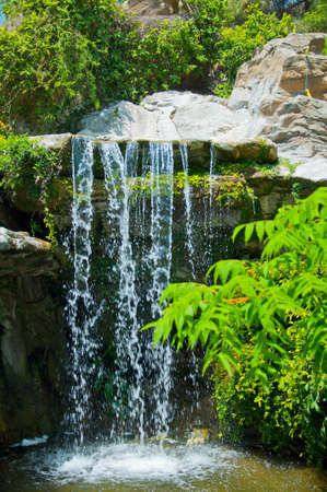 A very beautiful and magical tropical waterfall in Zoo of Los Angeles