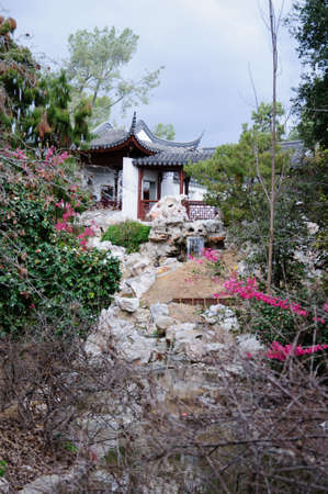 arbour: Chinese arbour gazebo and in the park with waterfall