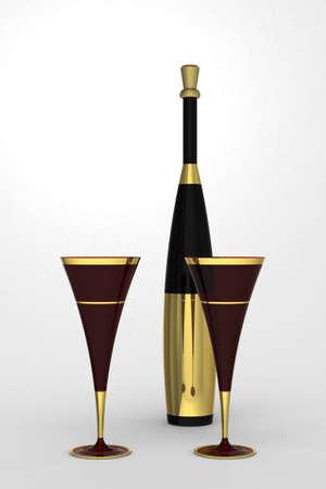 Flauta champán con la botella con la etiqueta de oro y corcho en un fondo monótono. Foto de archivo - 38605427