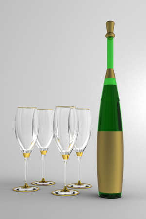 white zinfandel: Wine glasses and bottle with gold label without a name  against the window. Stock Photo