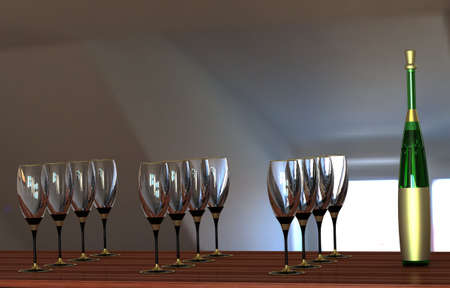 white zinfandel: Wine glasses and bottle with gold label without a name and a gold stopper against the window.