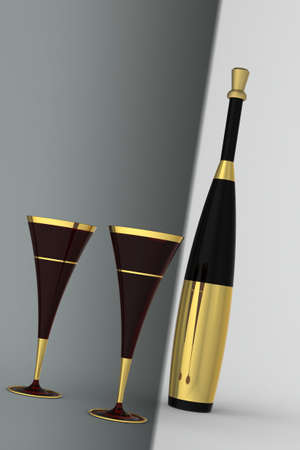 gold flute: champan flute with bottle with gold label and cork on a monotone background. Stock Photo