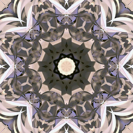 symmetrical: Symmetrical decorative patterns, 3D illustration multicolored.