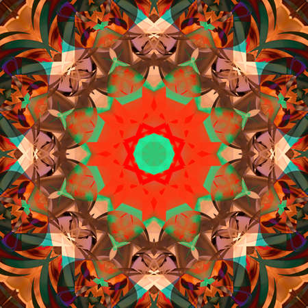 Symmetrical decorative patterns, 3D illustration multicolored.
