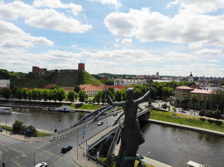 Beautiful view from above. Rooftop monument on riverside of Vilnus. Capital of Lithuania, Europe. Drone photography. 版權商用圖片