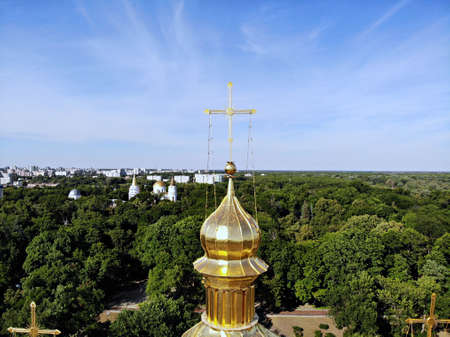 View on church from above. Chernihiv - beauty and historical city in the north part of Ukraine. Drone photography